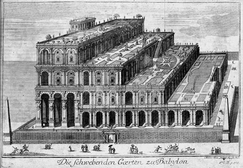 Klassisches Beispiel einer Terrasse: Die hängenden Gärten der Semiramis (Bild: gemeinfrei)