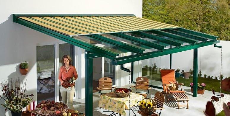 Terrassendach mit Dachrinne